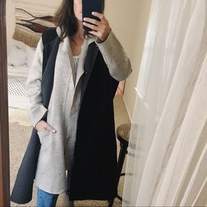 Heavy wool black oversized sleeveless duster coat